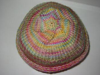 Koigu Swirl Baby Hat, Top View