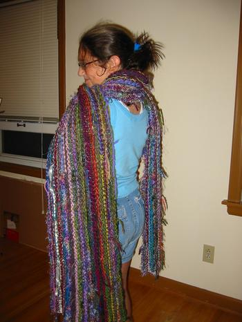 J-Daughter wrapped in the MultiYarn Scarf