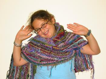 J-Daughter models the MultiYarn Scarf