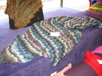My Silk Garden Clapotis on display at Karma Knitting